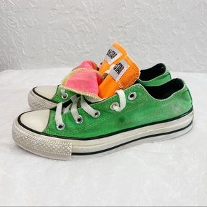 CONVERSE Green Low top with double tongue Size 6
